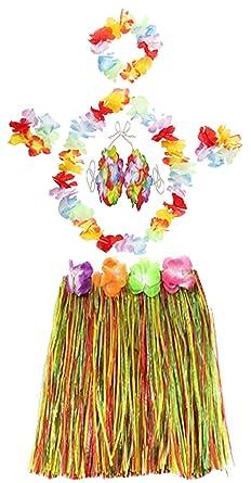 LADIES LONG 40CM HAWAIIAN HULA SKIRT 5 PC LEI SET HULA FANCY DRESS COSTUME  (5P
