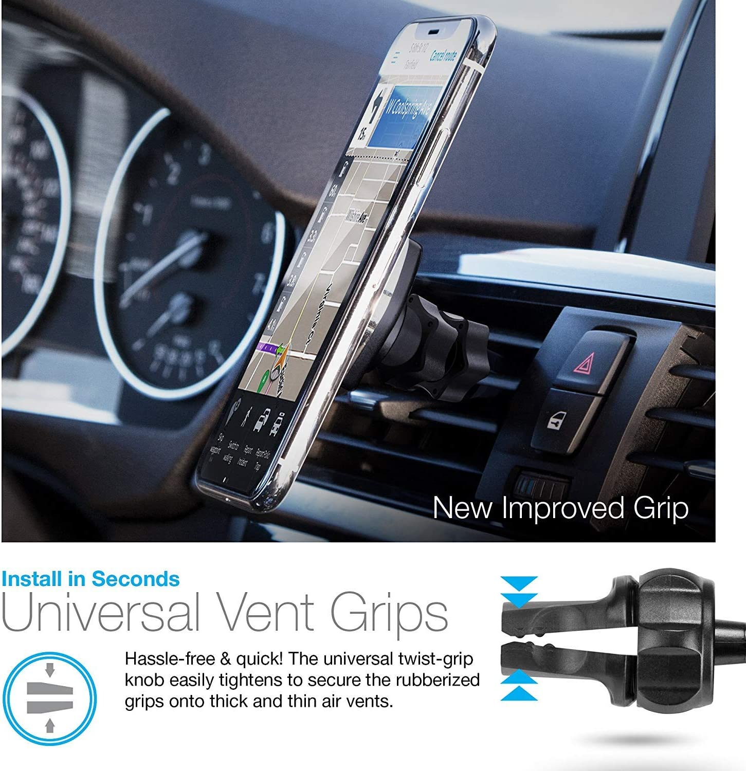 Adjustable Holder for Hands-free Phone Calls and GPS Use Samsung S9//S9+// Note8//Smartphones and More Compatible for iPhone X//8//8 Plus Black Naztech MagBuddy Magnetic Air Vent Car Phone Mount