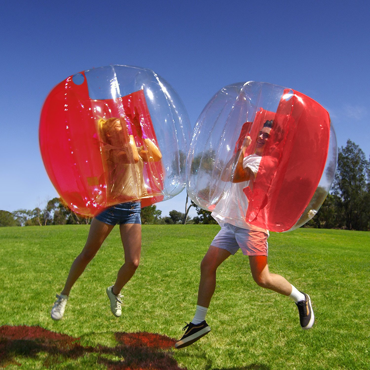 Inflatable 4' Wearable Buddy Bumper Zorb Balls Heavy Duty Durable PVC Viny Bubble Soccer Outdoor Game (One pack, Red)