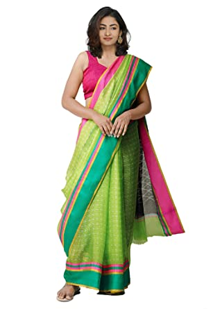 92414520607dad Unnati Silks Women Ikat Printed Pure Kota Silk Saree with blouse piece from  the Weavers of Rajasthan (UNM32156+Green+Free size)  Amazon.in  Clothing    ...