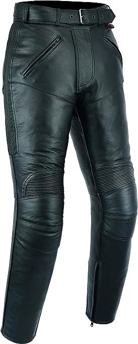 W32 // 81cm tour de taille lacets sur les c/ôt/és cuir noir Texpeed Jean de moto pour homme