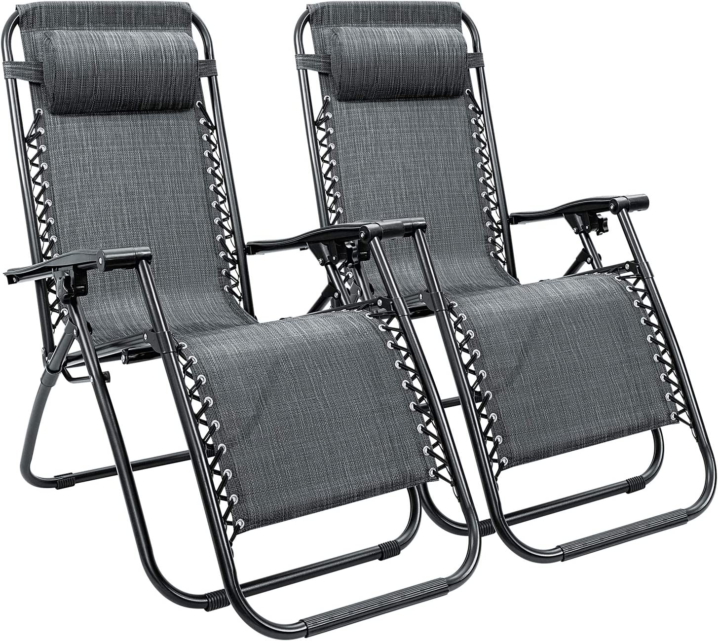 Homall Zero Gravity Chair Adjustable Folding Lawn Lounge Chairs Outdoor Lounge Gravity Chair Camp Reclining Lounge Chair with Pillows for Poolside Backyard and Beach Set of 2 Double-Gray
