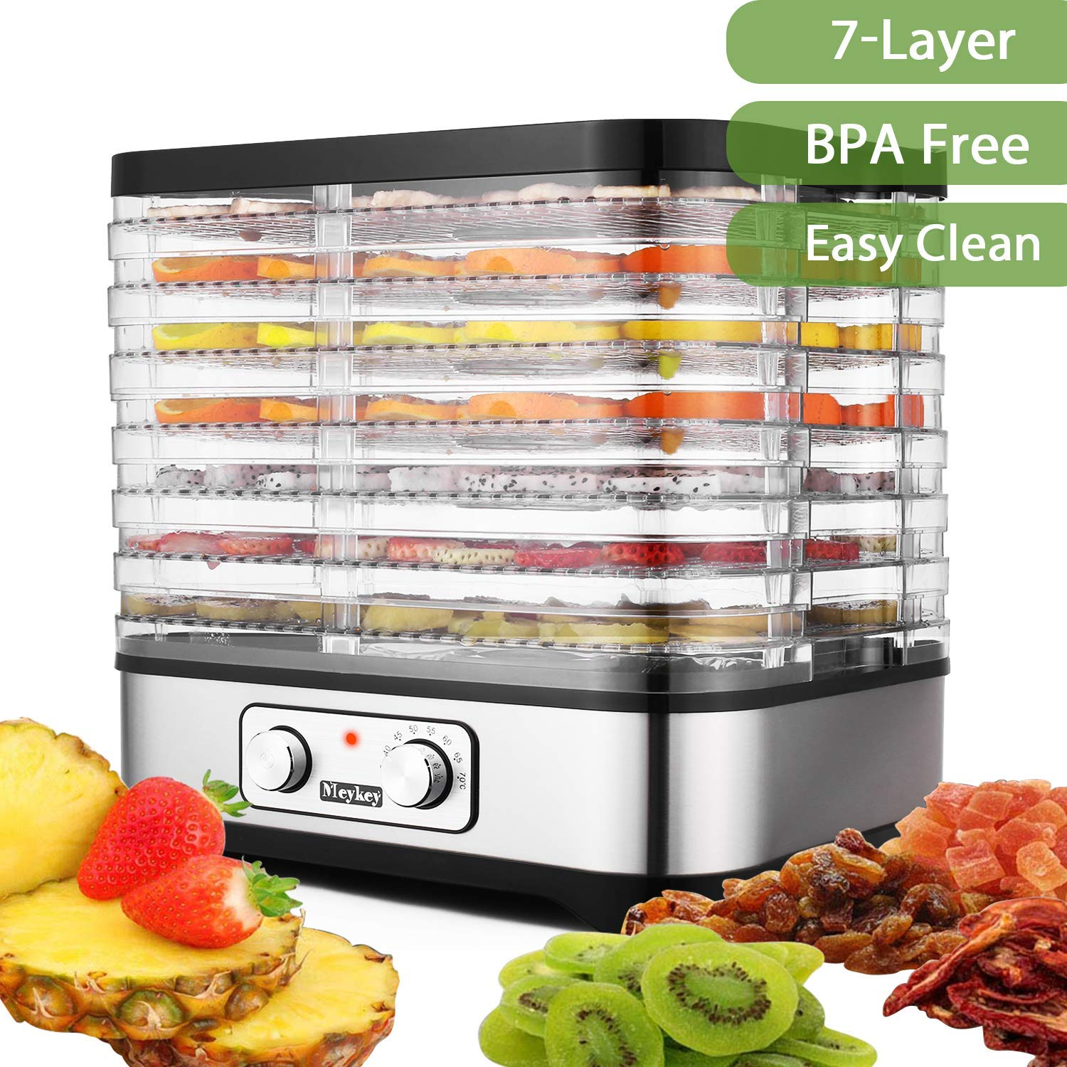 Food Dehydrator Machine, BPA Free Drying System with Nesting Tray – for Beef Jerky Preserving Wild Food and Fruit Vegetable Dryer in Home Kitchen
