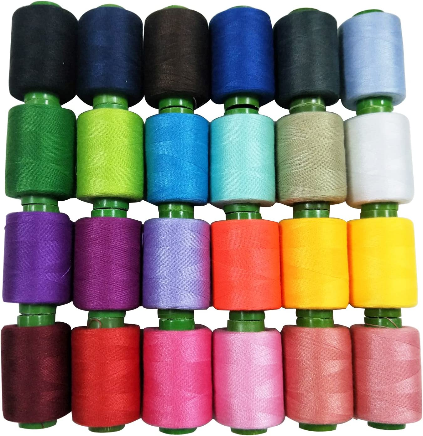 Polyester Thread//Embroidery Thread//Overlocking Thread Kit for Machine Sewing and Hand Stitching MOAMUN Sewing Thread Coil 24 Assorted Colour 800 Yards Each Thread Reel