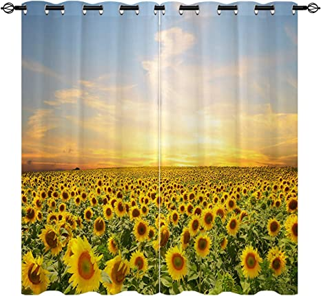 Amazon Com Anhope Sunflower Blackout Curtains Farmland Flower Sea Yellow Flowers Green Leaves Plants Scenery Grommet For Living Room Bedroom 52 W X 84 L 2 Panels Home