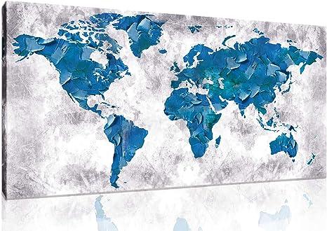 World Map Canvas art Painting 5 Panels World Map Print Wall Decor frameless