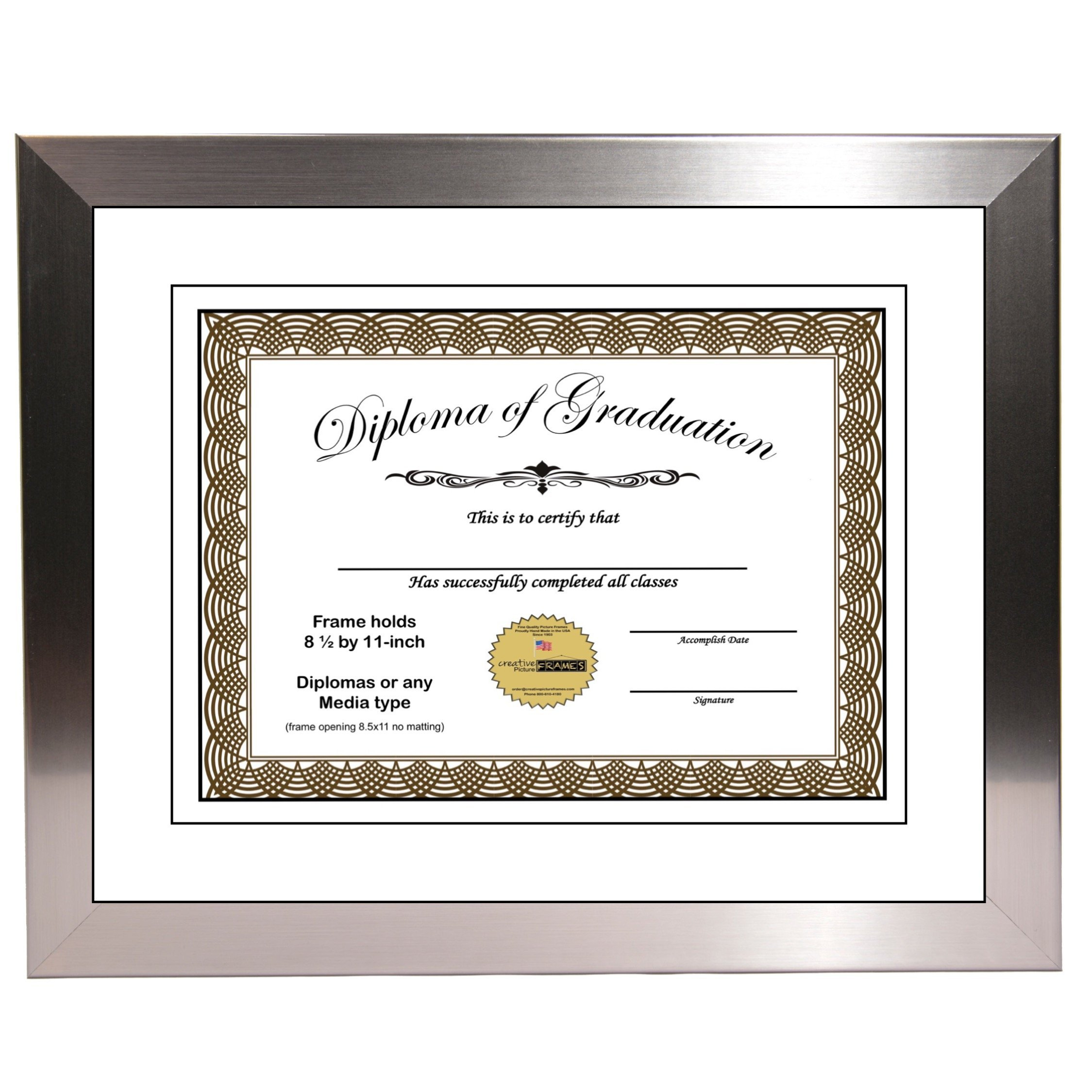 CreativePF [11x14ss-w] Stainless Steel Finish Diploma Frame with 11x14-inch Black Mat to Hold 8.5 by 11-inch Graduation Documents w/Stand and Wall Hanger by Creative Picture Frames