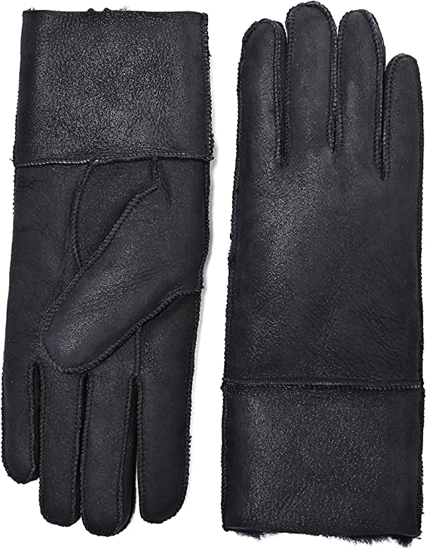 c2042c42d YISEVEN Women's Rugged Sheepskin Shearling Leather Gloves Mittens Sherpa  Fur Cuff Thick Wool Lined and Heated