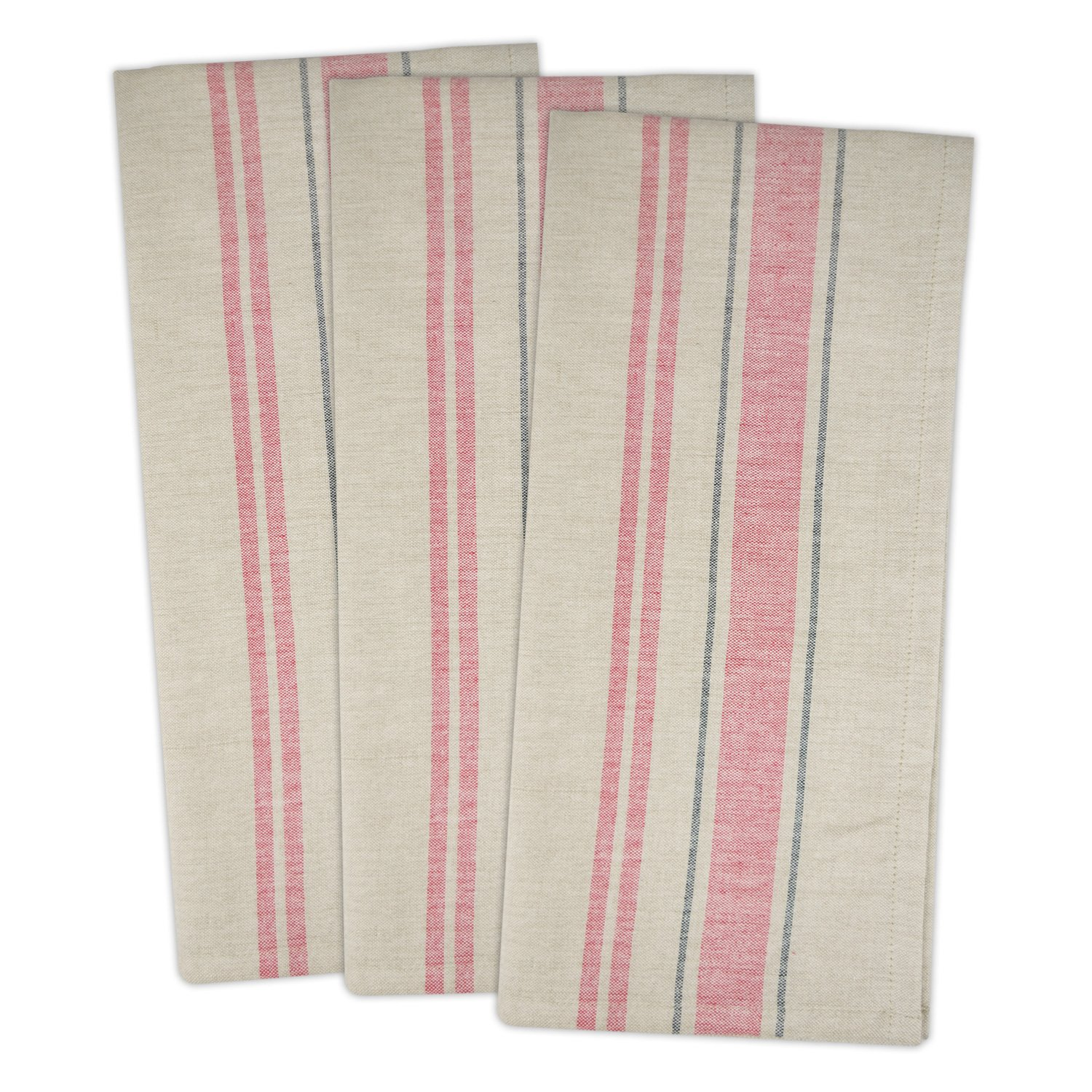 Red French Stripe Flour Sack Dish Towels - Set of 3