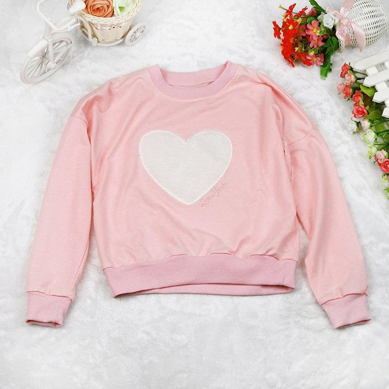 5-6T, Pink Webla Kids Girls Tracksuit Long Sleeve Heart Print Sweatshirt+Pants Outfits Set Ages 2-7 Years