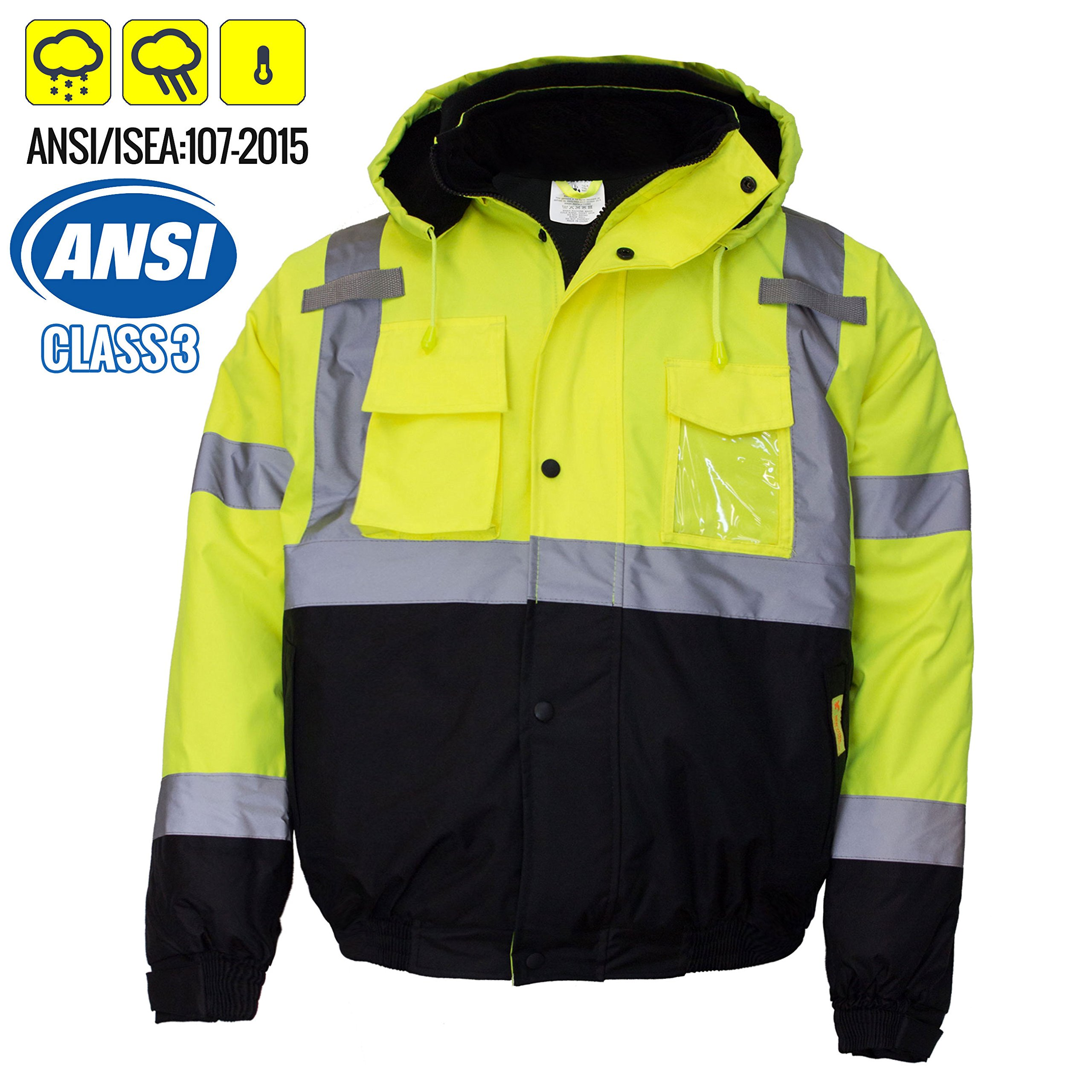 New York Hi-Viz Workwear WJ9012-2XL Men's ANSI Class 3 High Visibility Bomber Safety Jacket, Waterproof (2XL, Lime)
