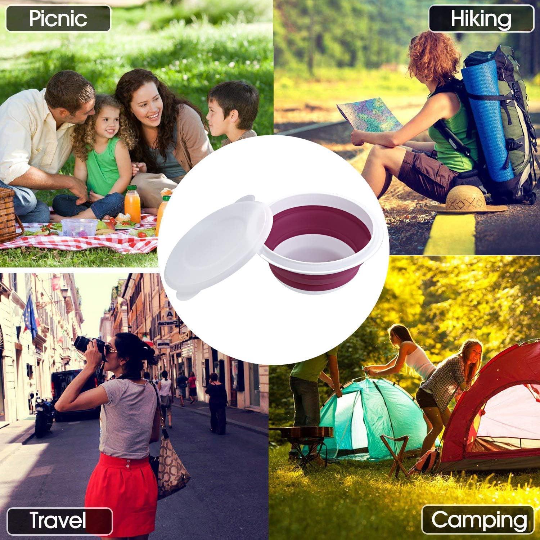 camping en plein air Lot de 3 bols de camping pliables en silicone pour voyage