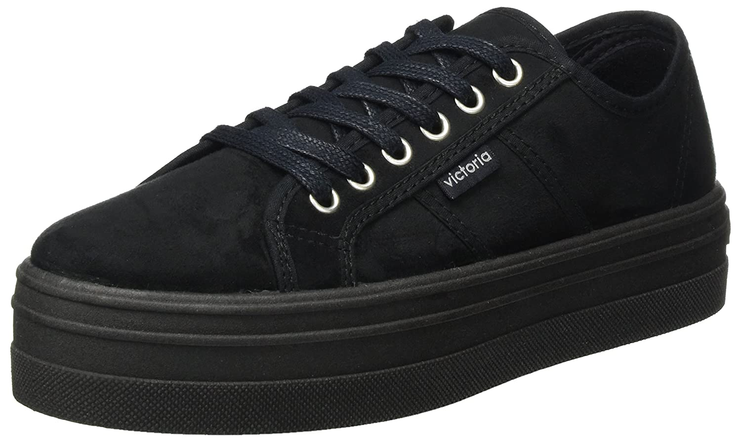 Amazon.com | Victoria Shoes Woman Low Sneakers with Platform 09205 Black | Fashion Sneakers