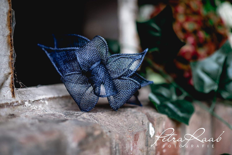 B14 BESTSELLER navy dunkelblau Haarreifen Fascinator Headpieces Headband Bridal flowers Rockabilly Style Oktoberfest Fasching Karneval