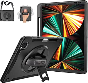 iPad Pro 12.9 case 2021 5th Generation / 2020 4th Generation with Pencil Holder, 15ft Drop Tested Shockproof Full Body Protective Case with Kickstand & Adjustable Strap for iPad Pro 12.9 Inch 5th Gen