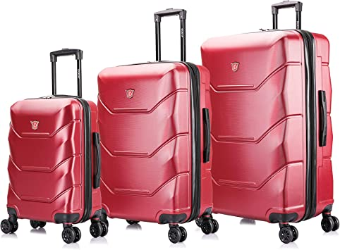 PC+ABS Hardside Spinner Lightweight Trolley Luggage with TSA Lock 20in,26in , Red SET