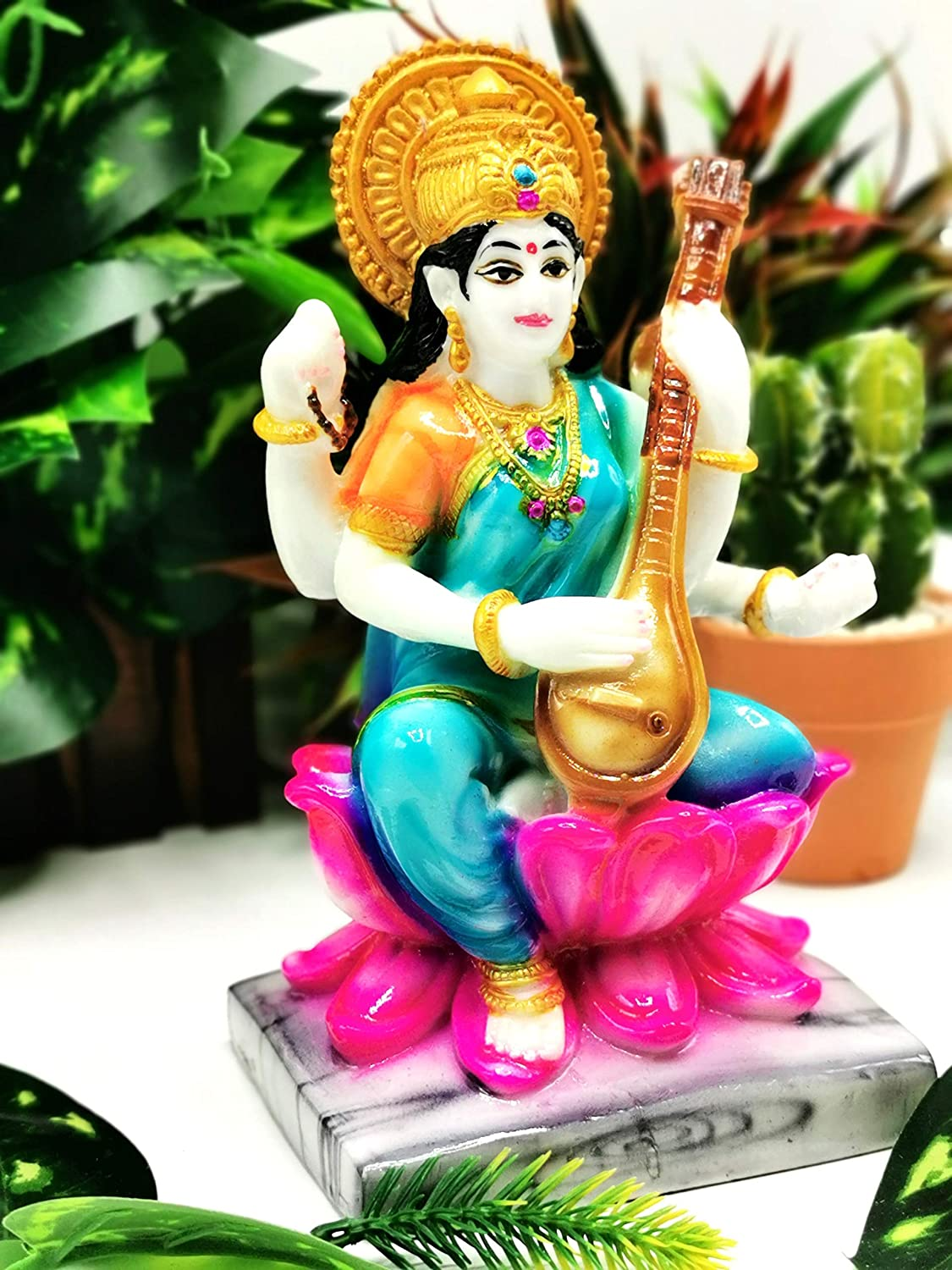 Goddess of Learning idol//murti//carving//figurine 1.3lb 7.5 inches and 590 gms - home decor//temple figurine Saraswati statue in polyresin