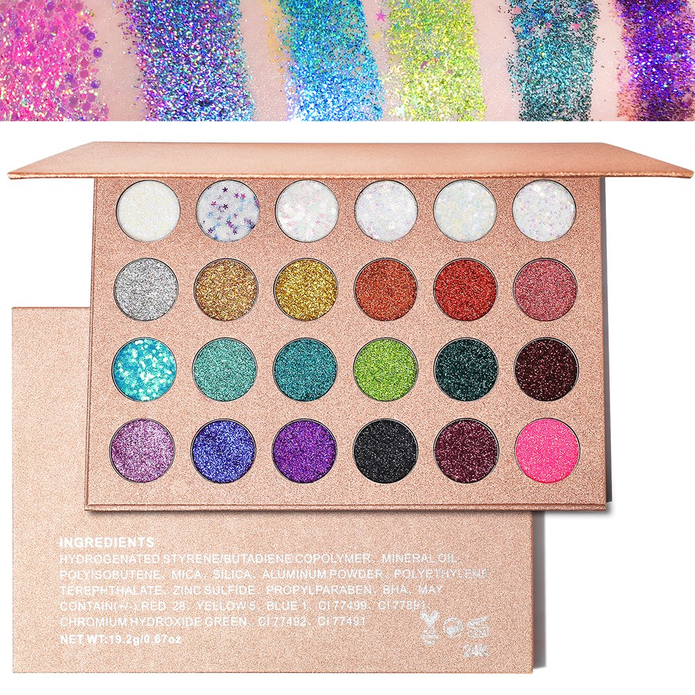 Pressed Glitter Eyeshadow Palette - 24 Colors Highly Pigmented Mineral Foiled Long-Lasting Shimmer Eye Shadows Powder Flash Color Waterproof Makeup Pallet