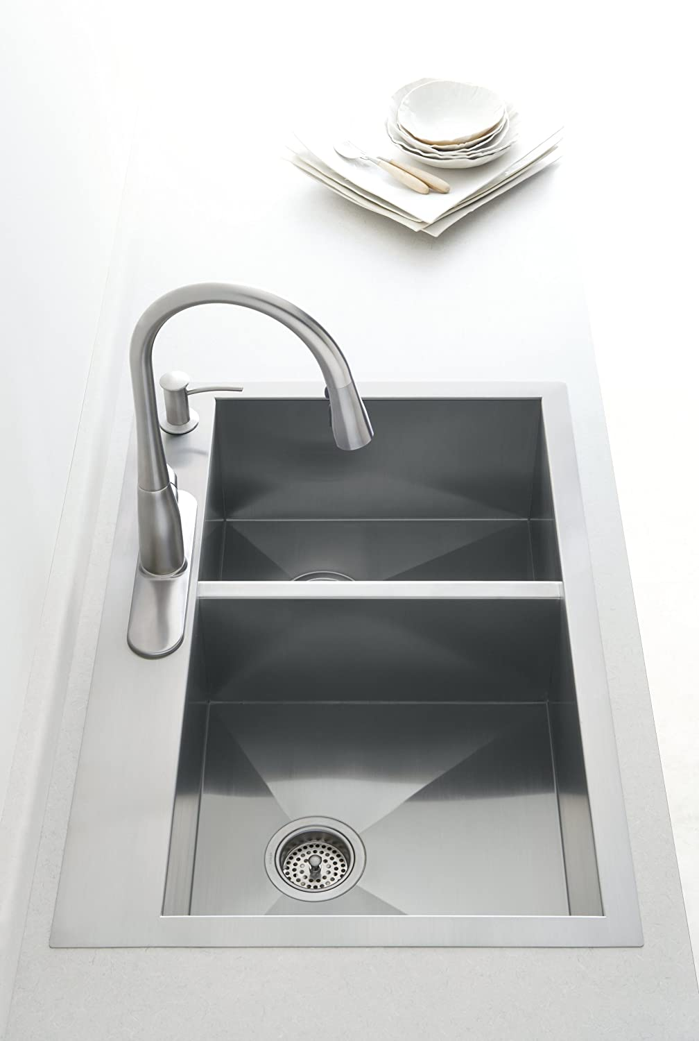 "KOHLER Vault 33"" Double-Bowl Offset 18-Gauge Stainless"
