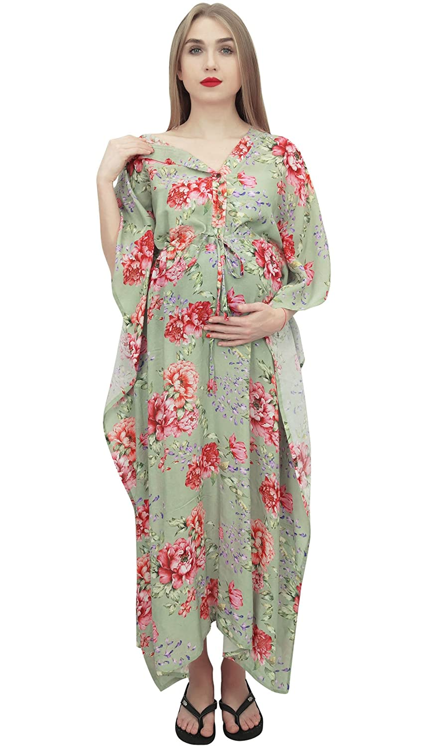 Bimba Moms Brown Drawstring Printed Maternity Kaftan Nursing Maxi Dress maternity-dresses