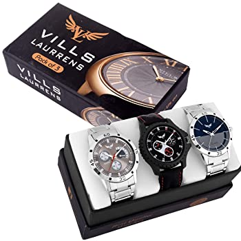 Vills Laurrens Analogue Multicolor Dial Mens Watch (Combo of 3)