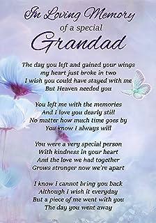 A Loving Grandad In Heaven Memorial Graveside Funeral Poem Keepsake