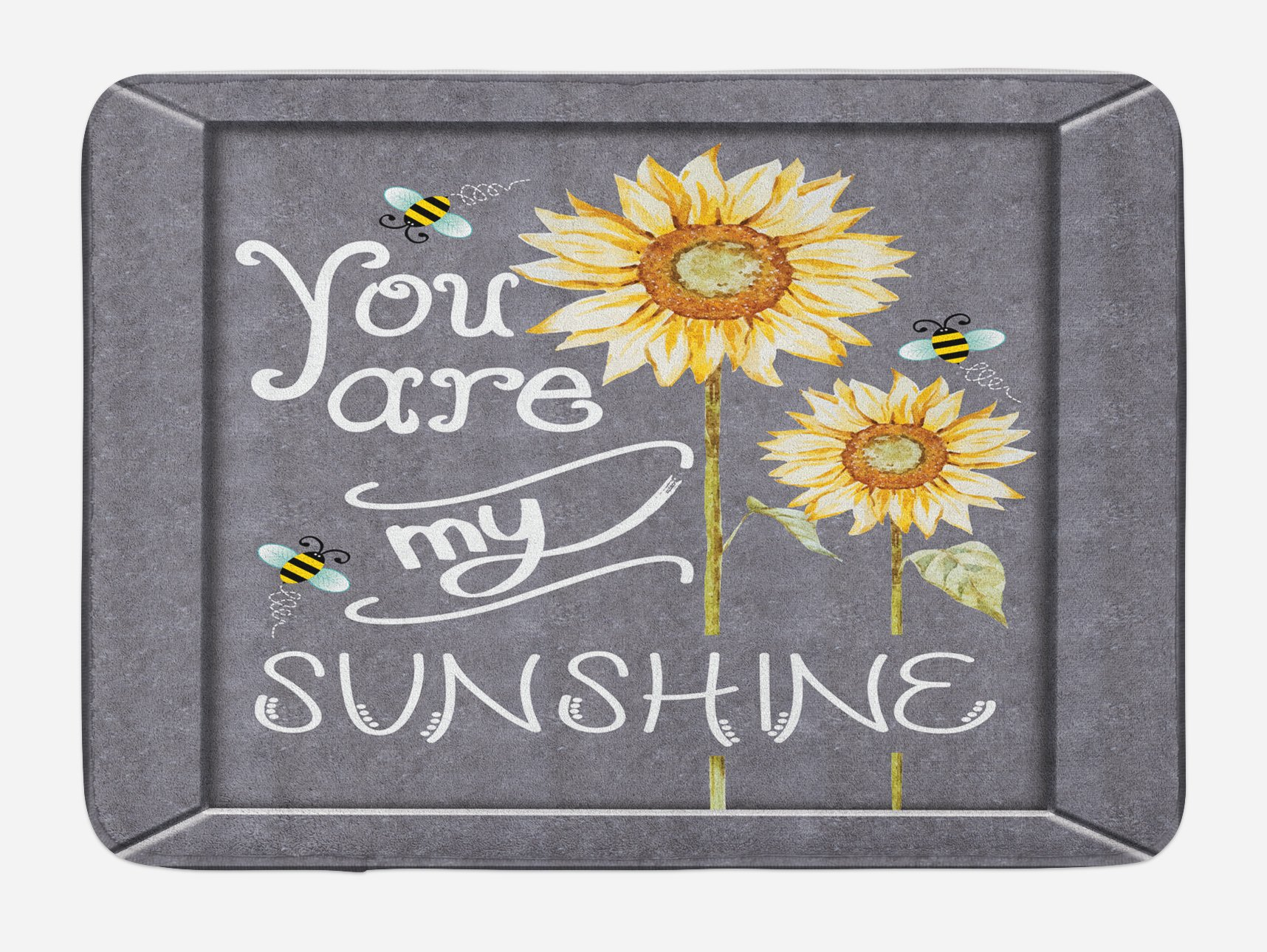 Lunarable You are My Sunshine Bath Mat, You are My Sunshine on Blackboard Bees Sunflowers Vintage Image, Plush Bathroom Decor Mat with Non Slip Backing, 29.5 W X 17.5 W Inches, Grey Yellow