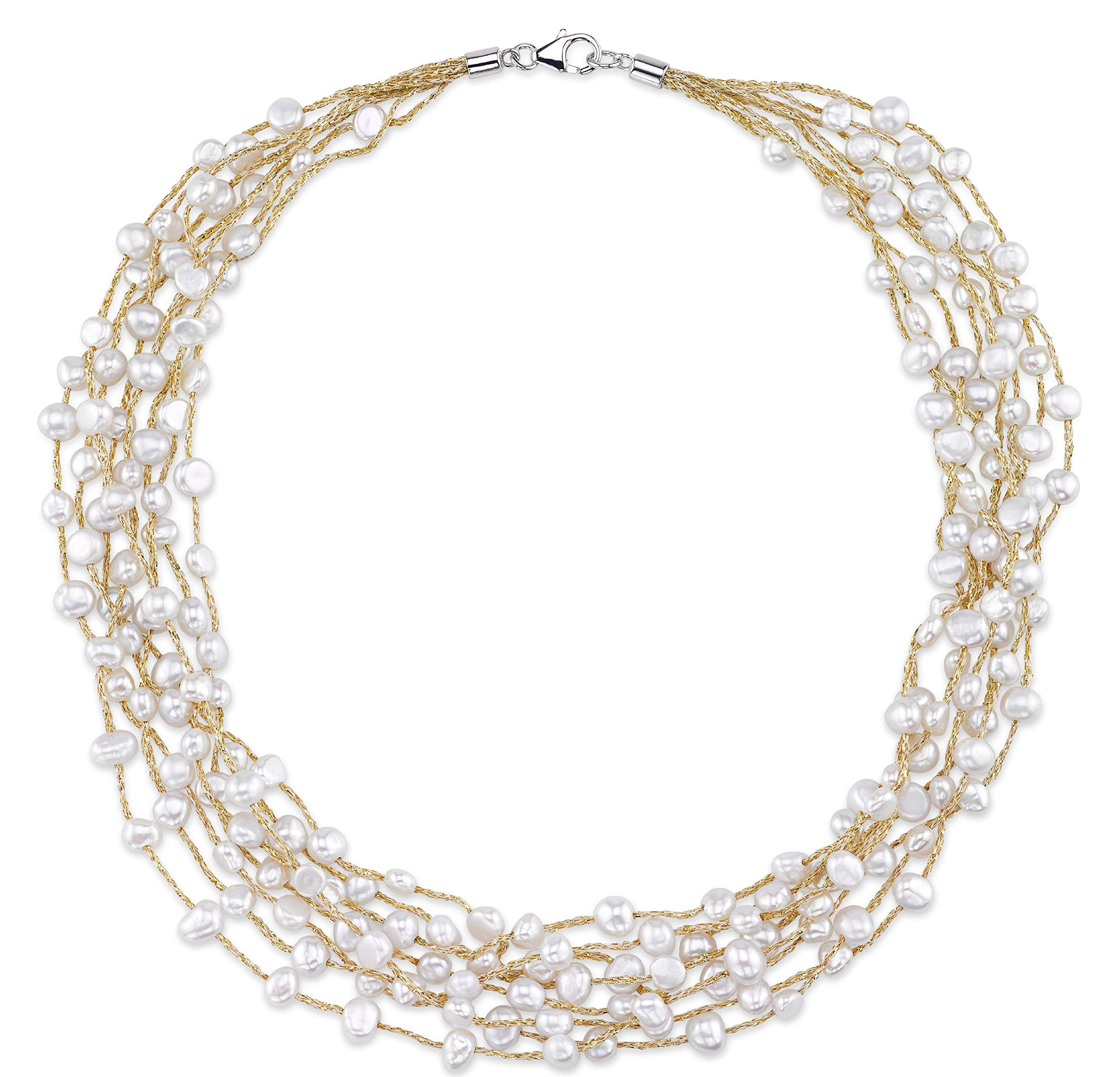 THE PEARL SOURCE 4-5mm Genuine White Freshwater Cultured Pearl Mila Necklace for Women