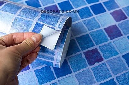 M mosaico blu controllare adesivo in plastica fablon piastrelle