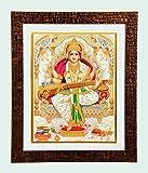 Bm Traders Golden Zari Work Photo Of Maa Saraswati In Copper Color Brick Finish Wooden Frame