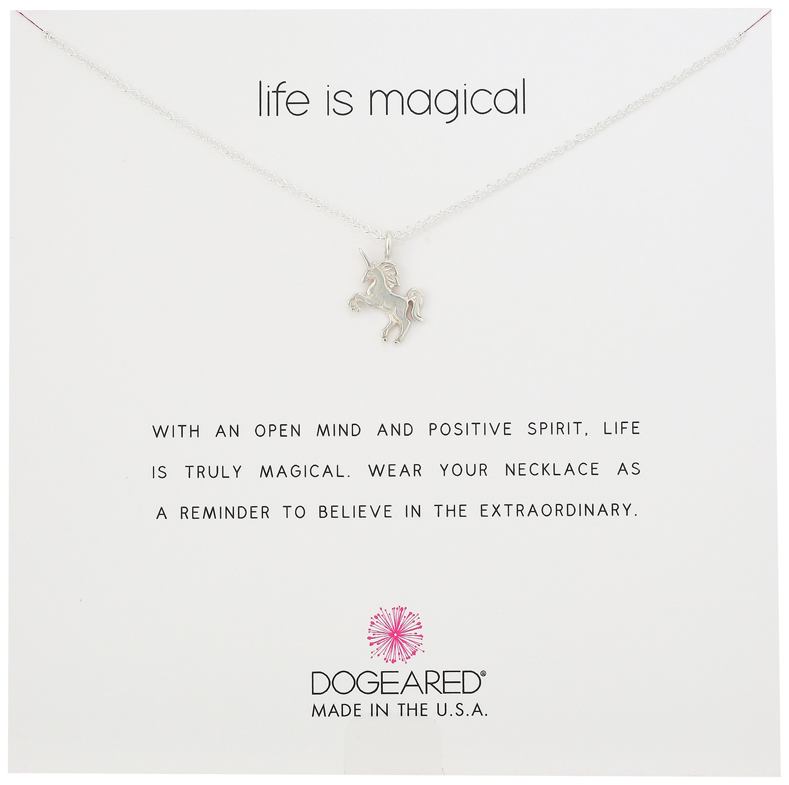 Dogeared Reminders Life Is Magical Sterling Silver Unicorn Charm Necklace, 16''+2'' Extender