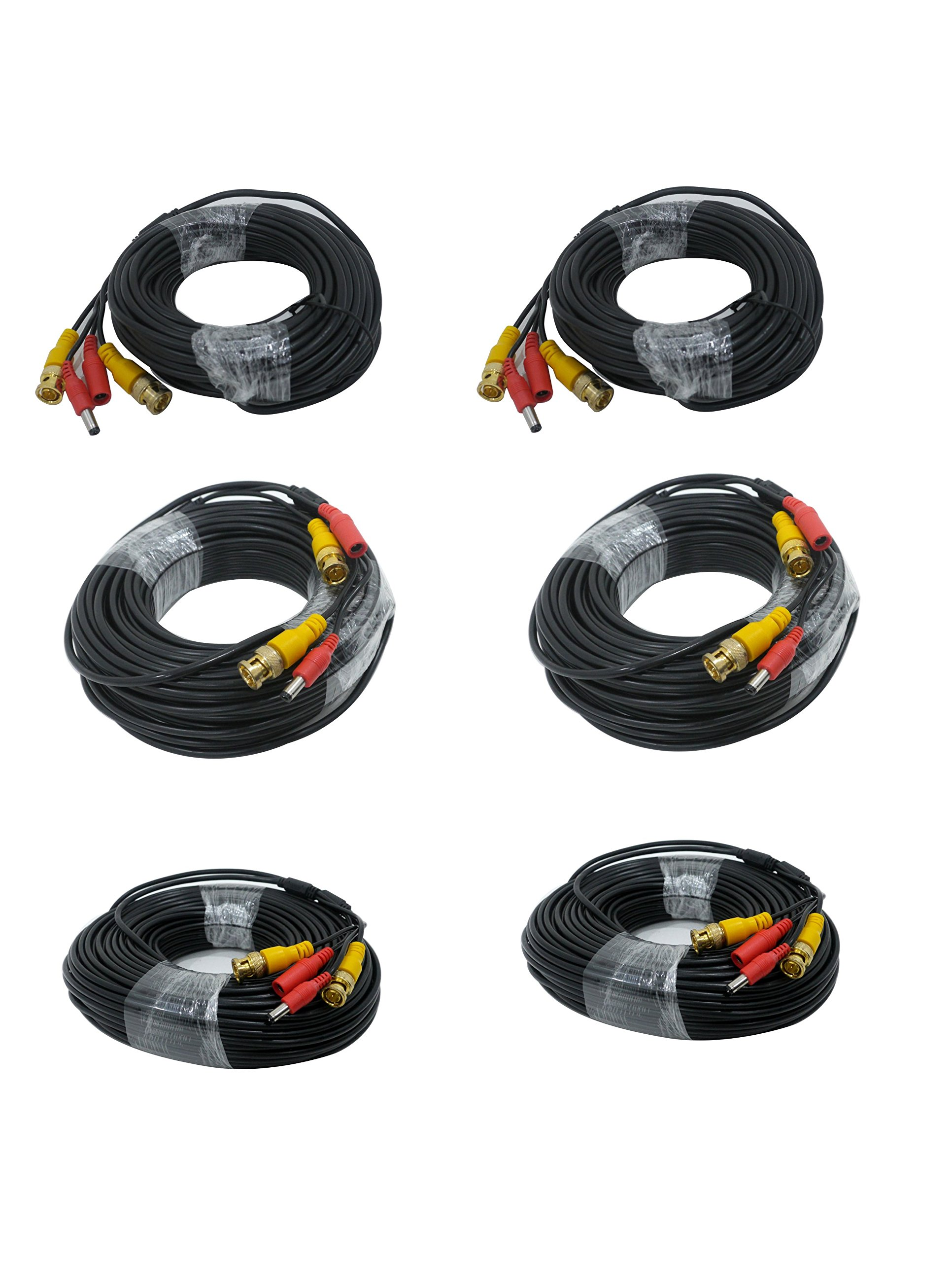 Standard Home Cabling Pack - 6 Cables 3 different Lengths - 2 x 150ft. - 2x 100 FT - 2 x 50 foot - Plug and Play BNC Video and Power Siamese HD TVI CVI AHD SDI Analog CCTV Surveillance Camera Cables