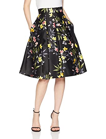cbc5ada79d83 Eliza J Women's Floral Print A-line Pleated Skirt at Amazon Women's  Clothing store: