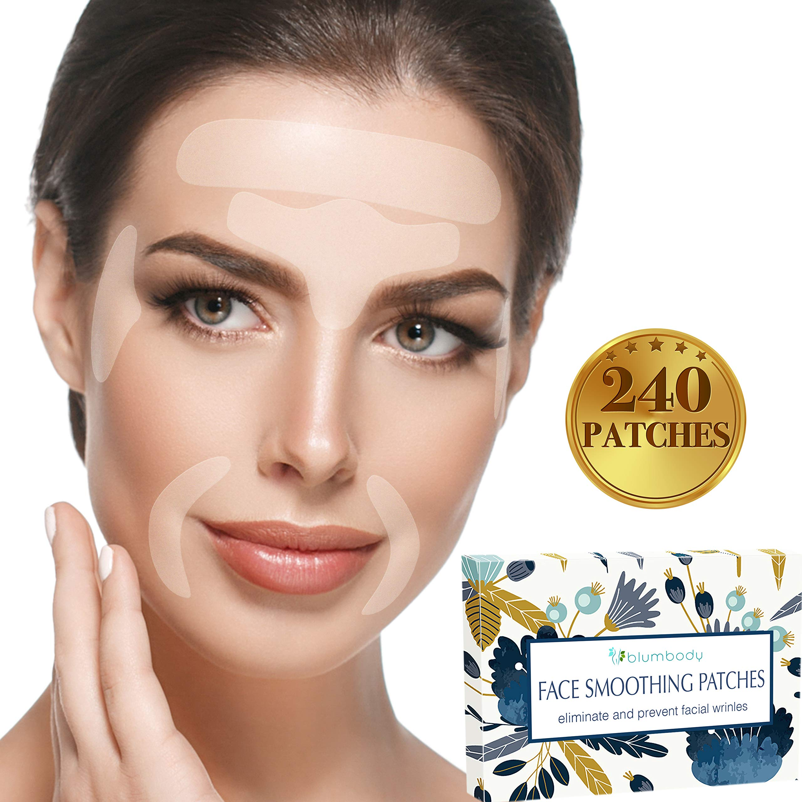 Facial Patches Wrinkle Remover Strips - 240 Face Tape Smoothing: Forehead Wrinkle Patches, Eye Wrinkle Patches, Wrinkles Around Mouth & Upper Lip Wrinkle Treatment Reusable Smoothing Wrinkle Patches by BLUMBODY