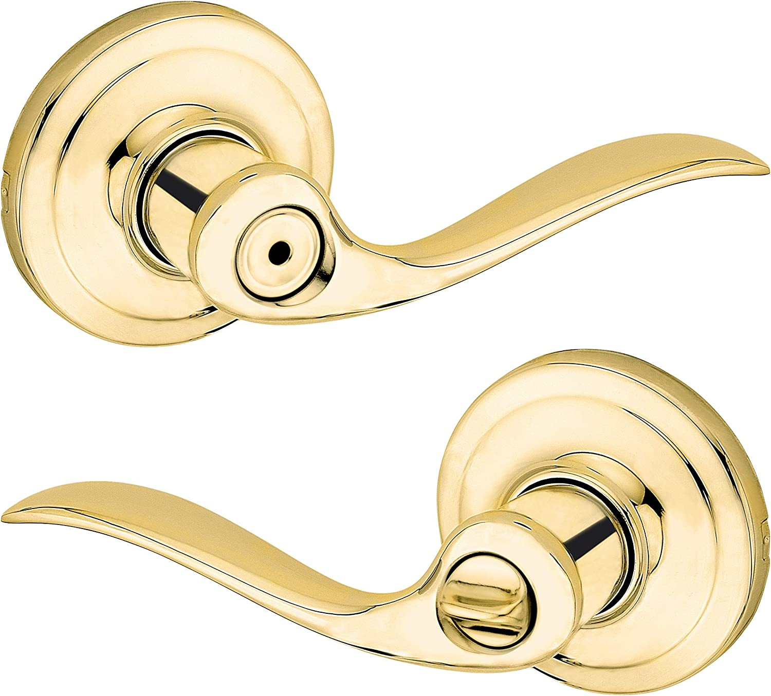 Kwikset Tustin//Polished Brass Bed /& Bath Privacy Lock//Lever.