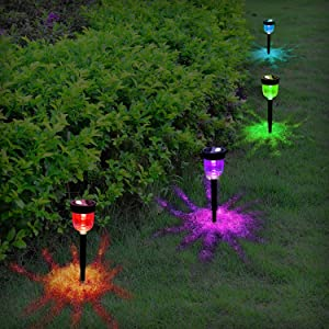 Aityvert Solar Lights Outdoor, 7 Color Changing Solar Pathway Lights Auto On/Off Landscape Lighting Waterproof Path Lights Garden Lights for Lawn Patio Walkway Driveway Yard Decor - 4-Packs