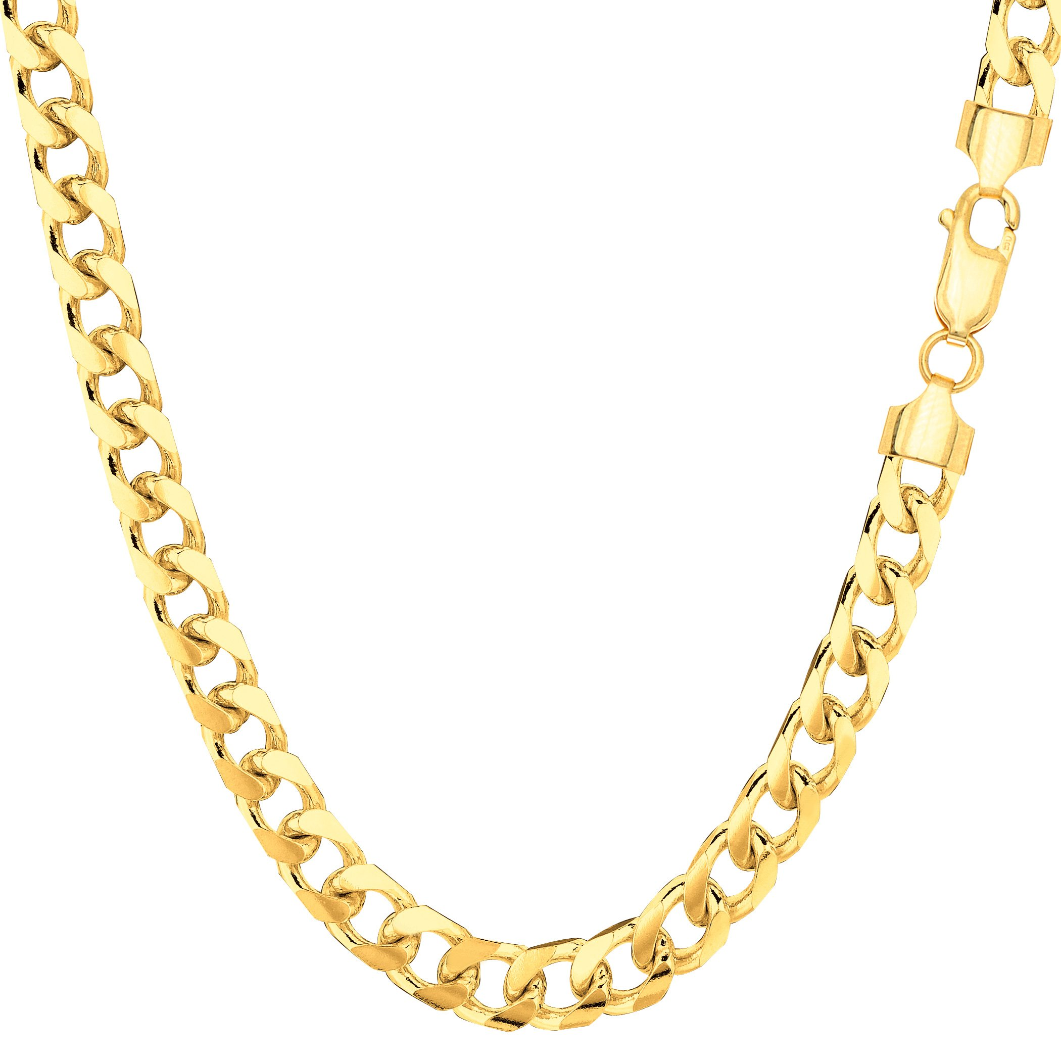 14k Yellow Gold Miami Cuban Link Chain Necklace - Width 5mm, 24''