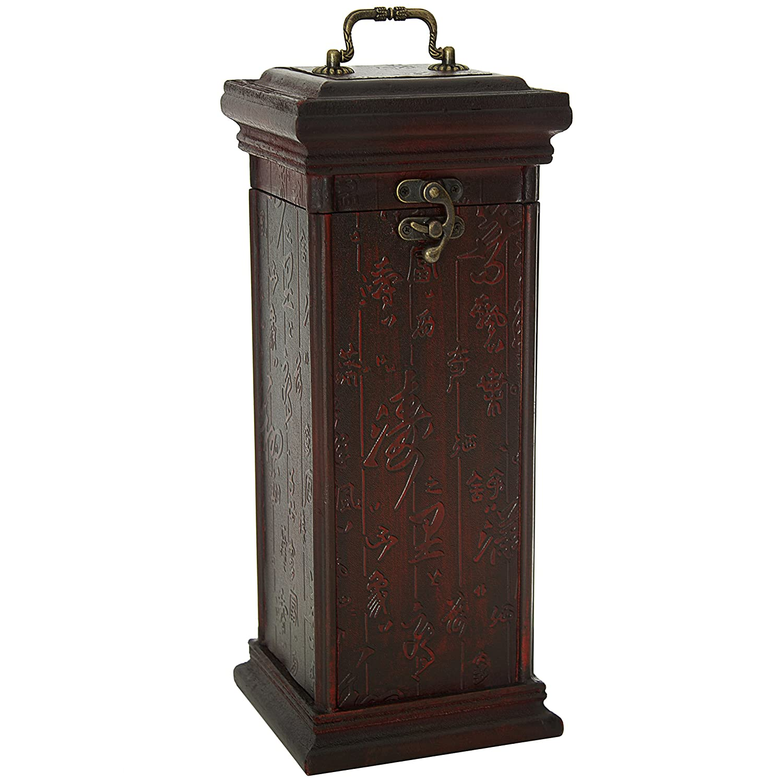Oriental Furniture 15-Inch Ming Square Calligraphy Oriental Wine Box, One Bottle FUZEG552