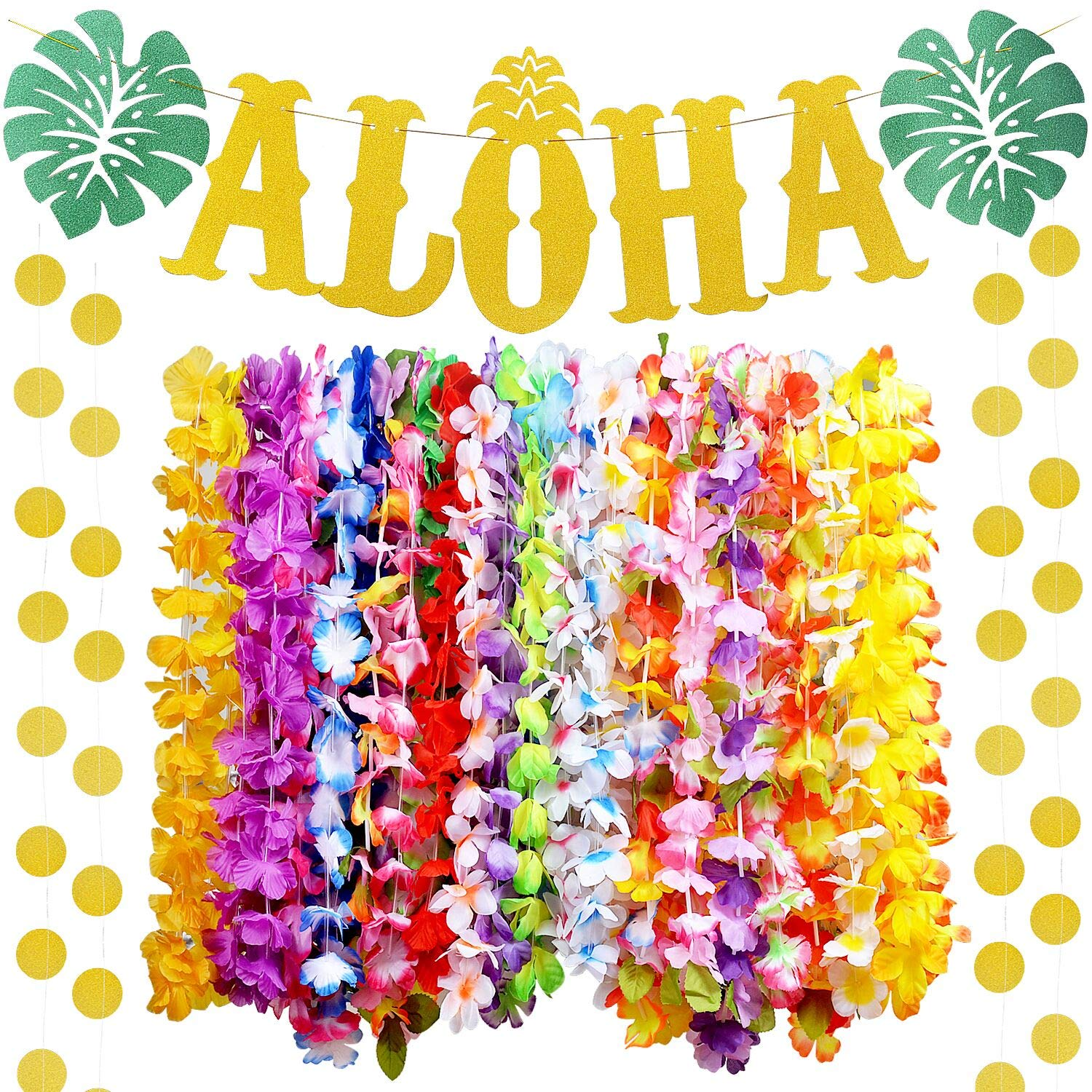 36 Counts Hawaiian Leis Necklace | 1Pc Glitter ALOHA Hawaiian Banner Hawaiian Flower Lei for Hawaiian Luau Party Supplies Favors Tiki Decorations Party Theme Event Decorations