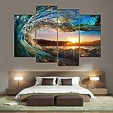 Cao Gen Decor Art-S70448 4 panels Framed Wall Art Waves Painting on Canvas