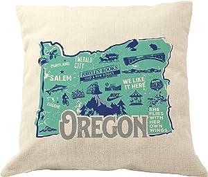 DrupsCo 18x18 Oregon Pillow Cover - Oregon Throw Pillow Case, Oregon Home Decor Pillow