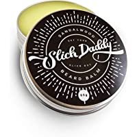 Beard Balm Sandalwood Scent with Jojoba Oil, Beeswax, Cocoa Butter & Vitamin E - Premium Quality, All Natural, Best Leave in Beard Conditioner for Men - Styles, Strengthens & Softens Beards & Moustaches by Slick Daddy