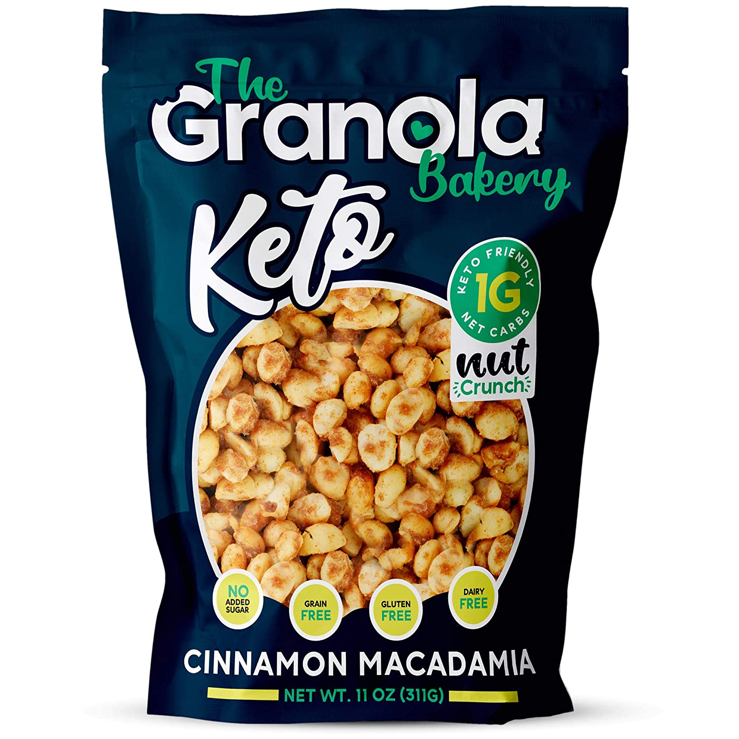 The Granola Bakery Keto Candied Macadamia | Low Carb Keto Nut Snack | 2g Net Carb, Low Sugar | Small Batch, Hand Crafted | Cinnamon, 9.5 Ounces