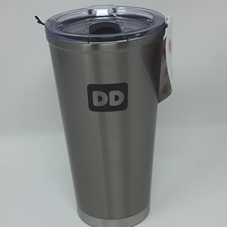 38bd66d1987 Amazon.com: Dunkin Donuts Matte Silver 20 oz Stainless Steel Travel ...