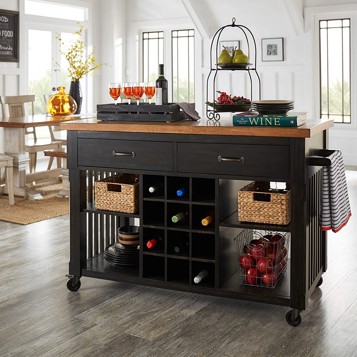 Inspire Q Eleanor Two-Tone Rolling Kitcn Island with Wine Rack by Classic Black