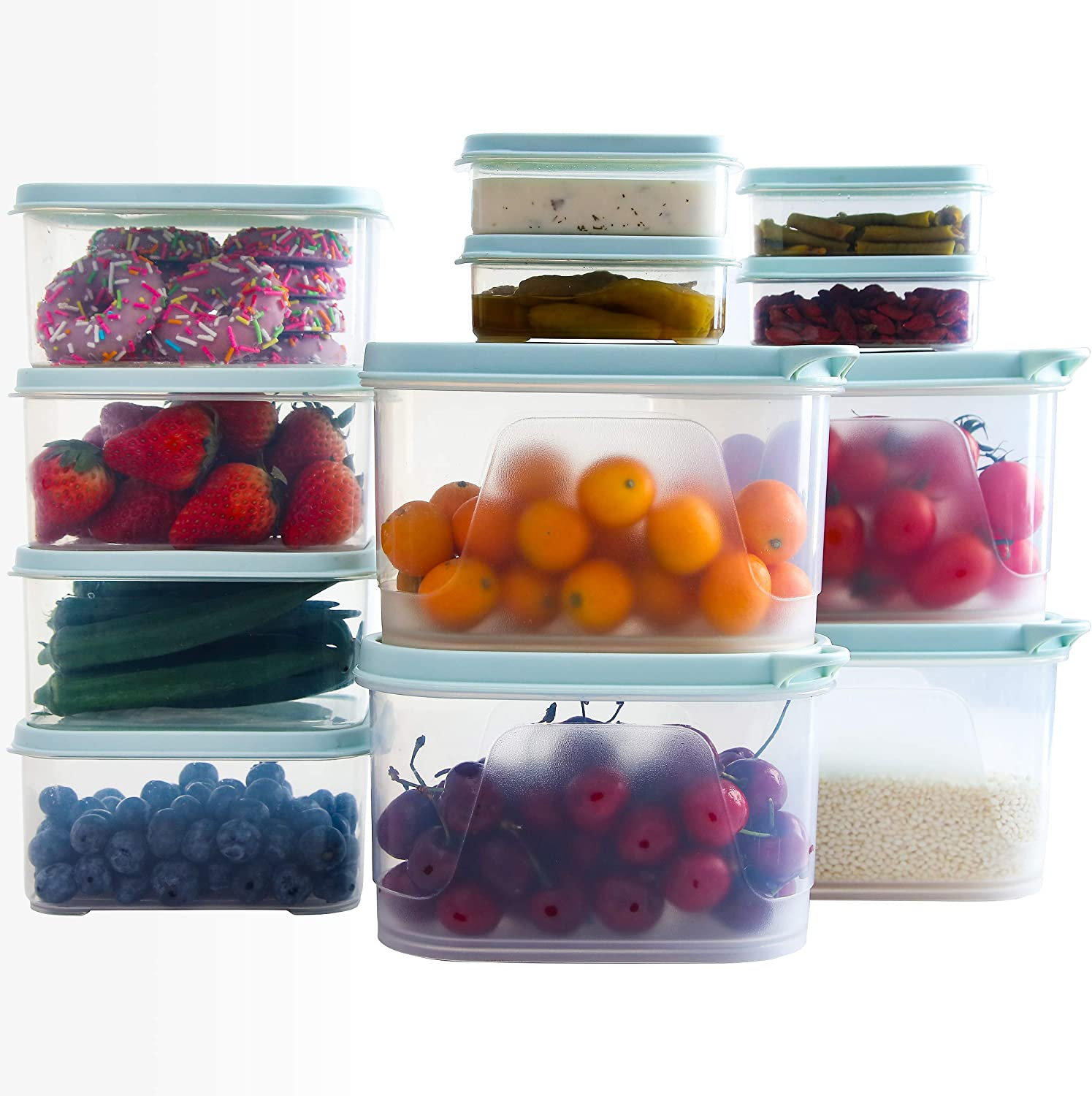 Citylife 12 Sets Food Storage Containers 38oz, 32oz, 6oz Plastic Food Containers with Lids Airtight Freezer Containers Microwaveable Dishwasher Safe