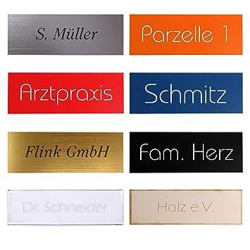 115 x 45 mm Namensschild Klingelschild mit pers/önlicher Gravur hochwertiges Holzschild Gravurschild oval T/ürschild
