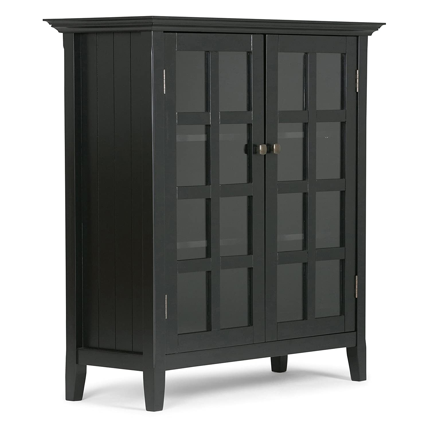 Amazon com simpli home axreg007 bl acadian solid wood medium storage cabinet in black kitchen dining