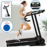 Fitnessclub Folding Electric Motorised Treadmill Walking Running Machine Incline Fitness Exercise Cardio Jogging Speed 10.0KM/H Designed Emergency System With Free Twist Plate Eu Power Adaptor