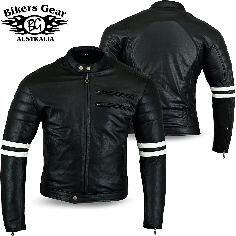 Australian Bikers Gear chaqueta moto Cafe Racer en color negro envejecido y rayas rojas oxblow con protecciones homologadas y extraíbles en talla XL Australian Bikers Gear  chaqueta moto Cafe Racer en